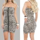 Rushed bodycon above knee mini strapless dress front zip closure Clubwear S,M, L