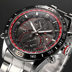 Fashion Quartz Hour Date Sport Mens Silver Stainless Steel Wrist Watch