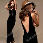 Fashion New Women Sleeveless Backless Gothic Sexy Party Evening Long Maxi Dress