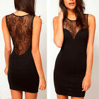 Womens Sexy Lace Floral Clubwear Bodycon Evening Cocktail Party Mini Black Dress