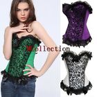 Sexy Lace up Boned Overbust Basque Basque Fancy Dress Lace Overlay Corsets Top
