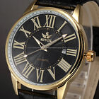 Classic Gold Case Mens Automatic Mechanical Date Display Leather Watch