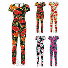 AE3 Ladies Gold Buckle Belted Floral Printed Jumpsuit Womens All In One Playsuit