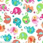 FQ -  ELEPHANT ROMP PINK -  RAINBOW ELEPHANTS - MICHAEL MILLER COTTON FABRIC