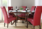 Dark Townhouse & Boston Oval Extending Dining Table and 4 6 Chairs Set (Red)