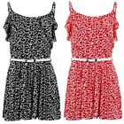 Women's Floral Frill Summer Shorts Belted Cami Ladies Sleeveless Party Playsuit