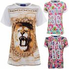 Women's Baggy T-shirt Lion Floral Miami Print Ladies Turn up sleeve Casual Top