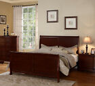 NEW SEVILLA CHERRY FINISH PINE WOOD QUEEN or KING PANEL SLEIGH BED