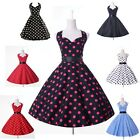 Jive 50s60s Swing Polka dot Halter Dress Pinup Vintage Rockabilly Short Clubwear