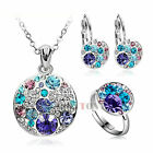 Womens Jewellery Use Swarovski Crystal Fashion Mickey Necklace&Earring&Ring Sets
