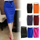 Elegant Womens High Waisted Stretch Bodycon Slim Pencil Wrap Skirts Dress + Belt