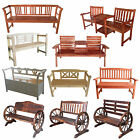 FoxHunter New 2/3 Seater Wooden Bench Chair Table Outdoor furniture Garden Patio