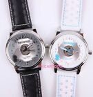 DORAEMON LIMITED EDITION TRANSPARENT TABLE FLOWERS LEATHER STRAP WATCH