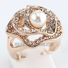 A1-R261 White Pearl Flower Fashion Ring 18KGP use Swarovski Crystal