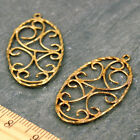 Solid Brass Wire Frame Oval Filigree Pendant Earring Charm jewelry making be04