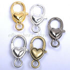 Gold Silver Plated Bronze Copper & Shiny & Charms Heart Lobster Clasps 25X14MM