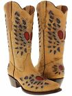 Women's ladies very distressed leather cowboy boots western riding biker rodeo