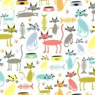CAT AND KABOODLE - WHITE - MICHAEL MILLER COTTON FABRIC cats fish tabby kitty