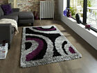 SMALL- EXTRA LARGE BLACK PURPLE GREY THICK SOFT RUG MODERN SHAGGY NON SHED RUGS