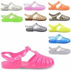 NEW LADIES SUMMER LEISURE CLEAR JELLY CLOSED TOE RETRO GLITTER SANDALS UK 3-8