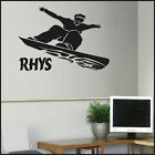 LARGE PERSONALISED SNOWBOARDING SNOW BOARDER WALL STICKER NEW TRANSFER UK DECAL