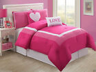 Girls Kids Bedding - Pink Love Bedding Set- With Pink White Pillows