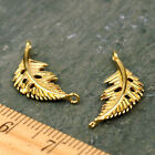 6pcs Solid Brass Bird Feather Leaf Connector Earring Charm be07 PICK