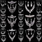 Wedding Party Bridesmads New Rhinestone Crystal Earring Necklace Jewelry Set