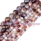 4-12mm Natural Faceted Round Multicolor Botswana Agate Gemstone Beads Strand 15""