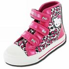 Girls Hello Kitty Peony Pink Hi Top Canvas,Velcro Shoes Trainers
