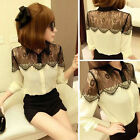 Sexy Womens Vintage Lace Long Sleeve Button Chiffon Splicing T-shirt Blouse Tops