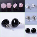 Faceted agate quartz round stud earrings