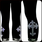Plus Size Capri Length Leggings Embellished Rhinestone Iridescent Gothic Cross