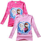 Frozen Elsa & Anna Princess Kids Girls Long Sleeve Tops T-Shirts Aged 2-8 Years