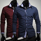 New Fashion Designer Men's Long Sleeve Tops Casual Formal Dress Shirts Size S~XL