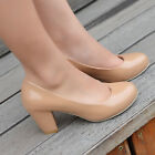 2014 Ladies Womens Shoes Chunky High Heel Pull On Normal Round Toe Pumps Uk 2-8