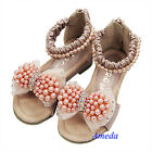 Girls Light Pink Pearl Crystal Bow Party Elegant Sandals Princess Shoes US 7.5-1