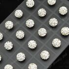 New 24-72pc Stainless steel 10m White Shamballa Crystal Disco Ball Stud Earrings