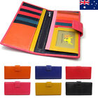 Genuine Leather Ladies Womens Bifold Wallet Purse Multicoloured Pocket Coins