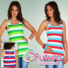 ☼ SUMMER ☼ Alluring Vest Top with Zipper Multicolours Strappy Size 8-12 5069