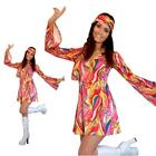 60s 70s Fancy Dress Costume Flower Power Hippie Retro GoGo