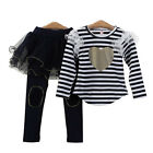 Girls Kids Striped Heart Top+Leggings Pants Skirt Tulle 2-7Y 2Pc Princess Outfit