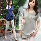 2014 Womens Blouse Ladies Button Down Shirt Roll Up Sleeve T-shirt Tops Casual