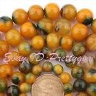 DIY JEWELLERY MAKING ROUND CANDY GREEN&YELLOW AGATE GEMSTONE BEADS STRAND 15""
