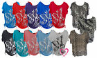 Womens Plus Size Floral Butterfly Print Ladies Short Sleeve Batwing T-Shirt Top