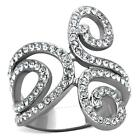 WOMEN'S CLEAR AAA CZ STAINLESS STEEL ENGAGEMENT WIDE BAND SWIRL RING