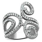 Women's Clear Cz Stainless Steel  Engagement Wide Band Swirl Ring SZ 6-10