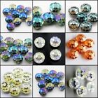 6 colors Faceted Sunflower Pattern Round Glass Crystal  Loose Spacer Beads 14mm