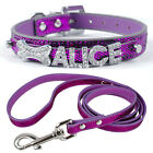 Customized Rhinestones Letter Name Personalized PU Leather Cat Dog Collars&Leash