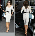 Short sleeve Womens Celebrity Cocktail Bodycon Stretch Tunic Pencil Dress White